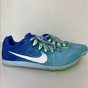 Nike Blue/Green Racing Distance Shoes Size 7.5